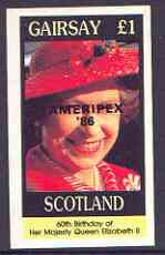 Gairsay 1986 Queen's 60th Birthday imperf souvenir sheet (�1 value) with AMERIPEX opt in black unmounted mint