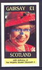 Gairsay 1986 Queen's 60th Birthday imperf souvenir sheet (�1 value) with AMERIPEX opt in blue unmounted mint