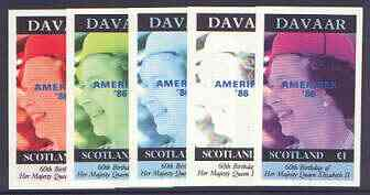 Davaar Island 1986 Queen's 60th Birthday imperf souvenir sheet (\A31 value) with AMERIPEX opt in blue, the set of 5 progressive proofs comprising single colour, 2-colour and three x 3-colour combinations (5 proofs) unmounted mint
