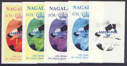 Nagaland 1986 Queen's 60th Birthday imperf souvenir sheet (1ch value) with AMERIPEX opt in blue, set of 5 progressive proofs comprising single & various composite combinations unmounted mint