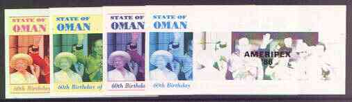 Oman 1986 Queen's 60th Birthday imperf souvenir sheet (2R value) with AMERIPEX opt in black, set of 5 progressive proofs comprising single & various composite combinations unmounted mint