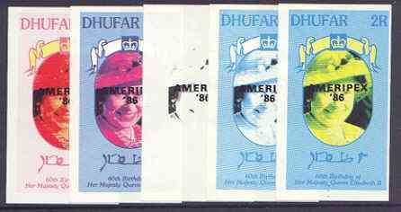 Dhufar 1986 Queen's 60th Birthday imperf souvenir sheet (2R value) with AMERIPEX opt in black, set of 5 progressive proofs comprising single & various composite combinations unmounted mint