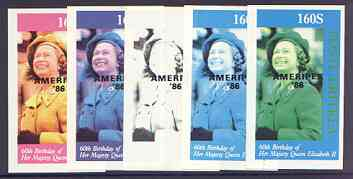 Eritrea 1986 Queen's 60th Birthday imperf souvenir sheet (160s value) with AMERIPEX opt in black, set of 5 progressive proofs comprising single & various composite combinations