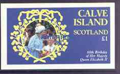Calve Island  1986 Queen's 60th Birthday imperf souvenir sheet (�1 value) with AMERIPEX opt in blue unmounted mint