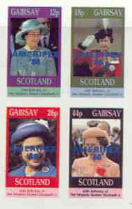 Gairsay 1986 Queen's 60th Birthday imperf sheetlet containing 4 values with AMERIPEX opt in blue unmounted mint