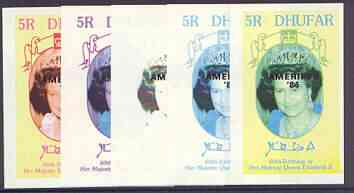 Dhufar 1986 Queen's 60th Birthday imperf deluxe sheet (5R value) with AMERIPEX opt in black, set of 5 progressive proofs comprising single & various composite combinations unmounted mint