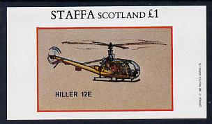 Staffa 1982 Helicopters #4 (Hiller 12E) imperf souvenir sheet (�1 value) unmounted mint