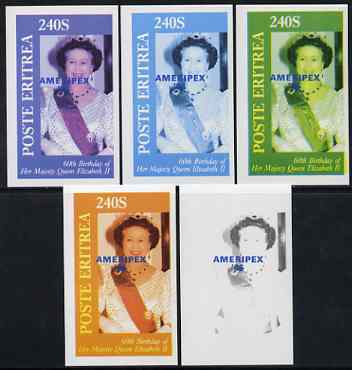 Eritrea 1986 Queen's 60th Birthday imperf deluxe sheet (240s value) with AMERIPEX opt in blue, set of 5 progressive proofs comprising single & various composite combinations