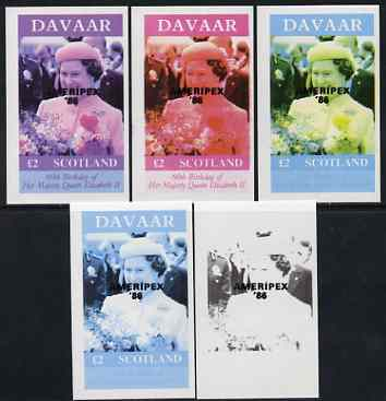 Davaar Island 1986 Queen's 60th Birthday imperf deluxe sheet (\A32 value) with AMERIPEX opt in black, set of 5 progressive proofs comprising single & various composite combinations unmounted mint
