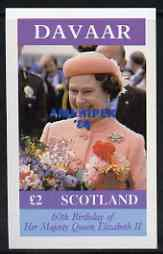 Davaar Island 1986 Queen's 60th Birthday imperf deluxe sheet (�2 value) with AMERIPEX opt in blue unmounted mint