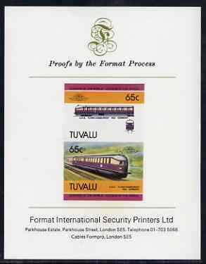 Tuvalu 1985 Locomotives #5 (Leaders of the World) 65c 'Flying Hamburger' imperf se-tenant proof pair mounted on Format International proof card (as SG 352a)