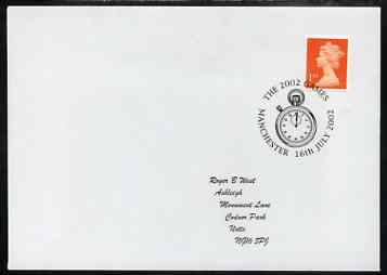 Postmark - Great Britain 2002 cover with Manchester 2002 Games cancel illustrated with Stop Watch