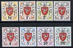 Isle of Man 1973 Postage Due Arms complete set of 8 from first printing (no letter A after date) unmounted mint, SG D1-8