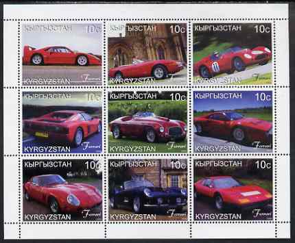 Kyrgyzstan 1999 Ferrari perf sheetlet containing set of 9 values unmounted mint