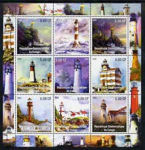 Congo 2002 Lighthouses perf sheetlet containing set of 9 values unmounted mint