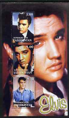 Tadjikistan 2001 Elvis Presley perf sheetlet containing set of 3 values unmounted mint