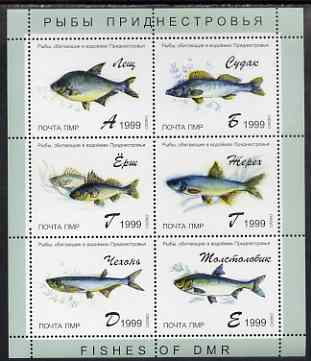 Dnister Moldavian Republic (NMP) 1999 Fish of DMR perf sheetlet containing set of 6 values unmounted mint
