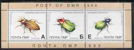 Dnister Moldavian Republic (NMP) 1999 Insects perf sheetlet containing set of 3 values unmounted mint
