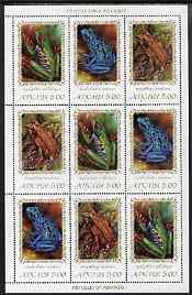 Abkhazia 2000 Frogs & Toads #1 perf sheetlet of 9 containing 3 se-tenant strips of 3 unmounted mint, stamps on animals, stamps on reptiles, stamps on frogs