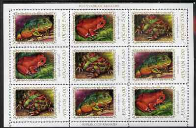 Abkhazia 2000 Frogs & Toads #2 perf sheetlet of 9 containing 3 se-tenant strips of 3 unmounted mint