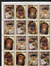 Abkhazia 2000 Primates perf sheetlet containing 4 se-tenant strips of 4 unmounted mint