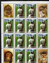 Abkhazia 2000 Statue of Primate perf sheetlet containing 4 se-tenant blocks of 4 (12 x 1.50 stamps plus 4 label) unmounted mint