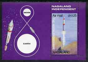 Nagaland 1969 The Moon programme 1ch25 m/sheet perf on three sides only unmounted mint