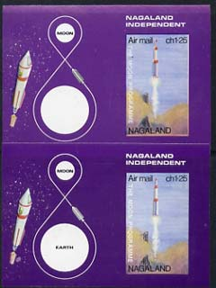 Nagaland 1969 The Moon programme 1ch25 m/sheet x 2, both imperf, one with 'Earth' omitted unmounted mint