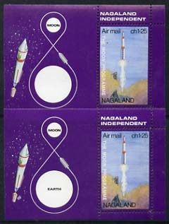 Nagaland 1969 The Moon programme 1ch25 m/sheet with 'Earth' omitted plus normal, both unmounted mint