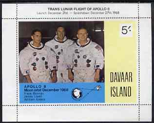 Davaar Island 1968 Apollo 8 Moon Flight 5s m/sheet (without gum)