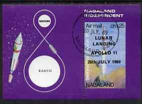 Nagaland 1969 The Moon programme 1ch25 m/sheet opt'd 'Lunar Landing Apollo 11' imperf on three sides fine cto used