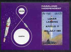 Nagaland 1969 The Moon programme 1ch25 m/sheet opt'd 'Lunar Landing Apollo 11' imperf on two sides only (horiz perfs omitted) unmounted mint