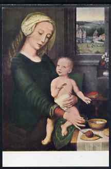 Postcard of Madonna Holding a Spoon by Gerard David in full colour, unused