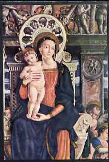 Postcard of Madonna and Child (detail) by Andrea Mantegna in full colour, unused