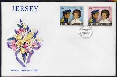 Jersey 1973 Royal Wedding set of 2 on commem cover with first day cancel SG 97-8