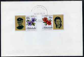 Cook Islands - Aitutaki 1973 Royal Wedding set of 2 on plain unaddressed cover with first day cancel