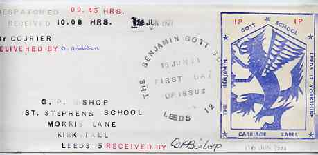 Great Britain 1971 Long cover bearing Benjamin Gott School 1p Carriage Label with first day cachet, time of despatch & receipt, and signed by carrier (contents describes the authenticity of the label) slightly grubby cover