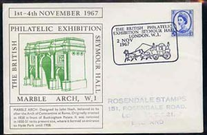 Postmark - Great Britain 1967 cover for Britsh Philatelic Exhibition (2nd Day with Marble Arch in green) with Mail Coach illustrated cancel (cover slightly grubby)