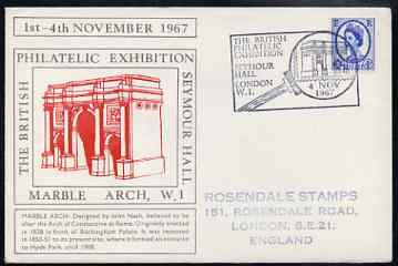 Postmark - Great Britain 1967 cover for Britsh Philatelic Exhibition (4th Day with Marble Arch in red) with Magnifier illustrated cancel (cover slightly grubby)
