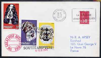 Cinderella - Great Britain 1971 Postal Strike cover to France bearing 3 Pabay imperf Dog values overprinted