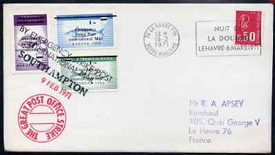 Great Britain 1971 Postal Strike cover to France bearing set of 3 Stroma