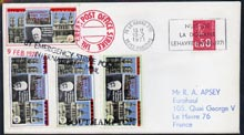 Great Britain 1971 Postal Strike cover to France bearing set of 4 Pabay Churchill values overprinted
