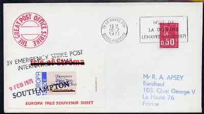 Great Britain 1971 Postal Strike cover to France bearing Stroma