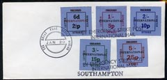 Great Britain 1971 Postal Strike cover bearing set of 5 dual currency Inland Letter Strike Labels (with Inland obliterated & opt'd International) cancelled 'The Great Post Office Strike' and 'By Emergency Strike Post, International Mail' endorsed 'Southampton'