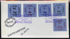 Great Britain 1971 Postal Strike cover bearing set of 5 dual currency Inland Letter Strike Labels cancelled 'Emergency Inland Strike Letter Service' endorsed 'Southampton' & 'Hampshire Local Mail Service'