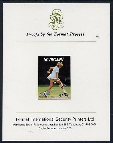 St Vincent 1987 International Tennis Players $1.25 Steffi Graf imperf proof mounted on Format International proof card (as SG 1061)