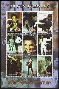 Tadjikistan 2001 Icons of the 20th Century - Elvis Presley perf sheetlet containing set of 9 values cto used