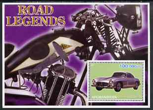 Afghanistan 2001 Road Legends perf m/sheet (Mercedes Car & Cotton motorcycle) unmounted mint, stamps on motorbikes, stamps on cars