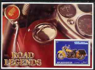 Afghanistan 2001 Road Legends perf m/sheet (Indian motorcycle) unmounted mint