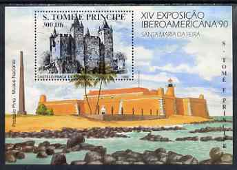 St Thomas & Prince Islands 1990 Iberoamericana '90 Stamp Exhibition perf m/sheet (Armas Castle) unmounted mint, stamps on castles, stamps on stamp exhibitions